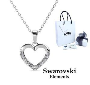 Collana Donna Oro Bianco Cuore Cristalli Strass SWAROVSKI Elements Idea Regalo