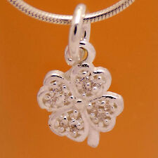Charming Solid 925 Sterling Silver Four Leaf Clover Flower White CZ Pendant