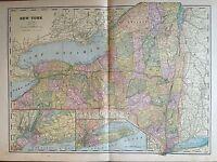 Antique COLOR MAP of New York-circa 1893