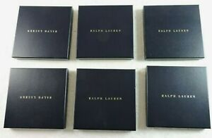 """Ralph Lauren Lot of 6 Small Navy Blue Gift Boxes 9 3/8"""" x 1 3/16"""" Square Boxes"""