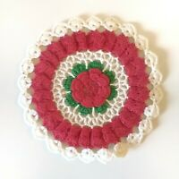 """Vintage Christmas Doily 6"""" Round Red Green Crocheted Handmade 1950s"""