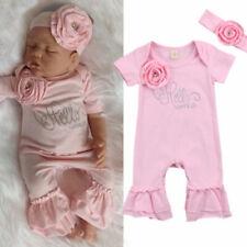 Newborn Baby Girl 3D Flowers Romper Bodysuit Jumpsuit Headband Outfit Clothes