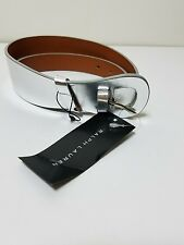 RALPH LAUREN ITALIAN MADE BLACK LABEL WOMEN SILVER DOUBLE WRAP LEATHER BELT SZ L