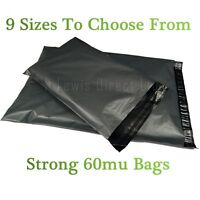 Strong Grey Plastic Mailing Post Poly Postage Bags Sacks Self Seal 9 Sizes