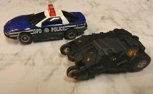 2 Tyco HO Slot Car Gotham Police Batmobile Tumbler Batman Race Set Tyco AFX Lot