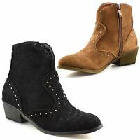 Ladies Womens Suede Mid Block Heel Zip Up Ankle Cowboy Biker Boots Shoes Size