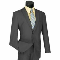 LUCCI Men's Gray 2 Button Classic Fit Poplin Polyester Suit NEW