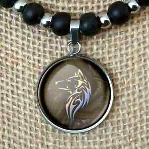 Tribal Timber Wolf Gift Pendant Leather Necklace Men's Women's