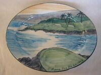 """Hand Painted """"Mauna Kea Pro Am 1999"""" Tropical Clay Hawaii Oval Plate. 16"""" D"""