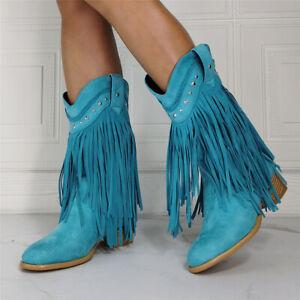 Ladies Tassel Chelsea Ankle Boots Block Chunky Mid Heel Rivet Shoes Pull On Boot