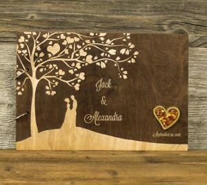 Personalized Wooden Wedding Guest Book, Rustic, Love Tree, Gift, Baltic Amber