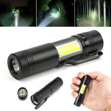 12000LM XPE Q5 +COB LED Flashlight 14500/AA 4 modes Pocket Clip Torch Light