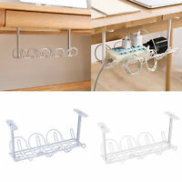 CW_ Storage Shelf Hanging Under Desk Basket Power Strip Stand Cable Organizer Ey