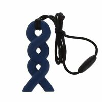 Twist Sensory Chew Silicone Necklace Pendant BPA Free Autism ADHD UK Seller Navy