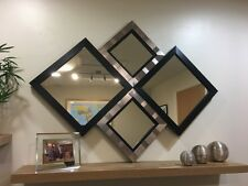 """THE HARROGATE"" BLACK AND SILVER DIAMOND WALL MIRROR 115 X 86 CM FREE P+P"