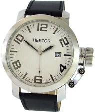 HEKTOR U Boot Made in Germany XL Herrenuhr weiß Leder schwarz Datum 10bar 45mm