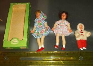 3 OLD VINTAGE GERMAN CACO DOLLHOUSE DOLLS GIRLS CHILDREN BABY W BOX LOT