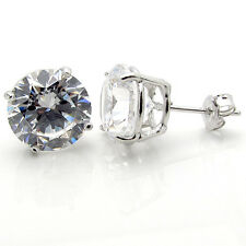 Sterling Silver CZ 8Ct Tw 4Ct Each Side Round Brilliant Basket Set Stud Earrings