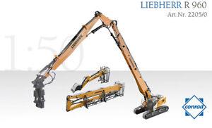 Conrad 2205 Liebherr R 960 Demolition Excavator Die-cast w/Metal Tracks 1/50 MIB