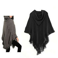 Hooded Knit Batwing Cape Poncho Cardigan Tassels Lady Warm Outwear Sweater CO
