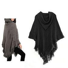Hooded Knit Batwing Cape Poncho Cardigan Tassels Lady Warm Outwear SweaterHA