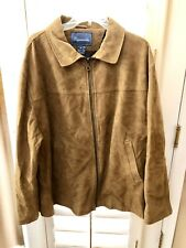 Faconnable Men's Cowhide Suede Leather Brown Tan Jacket Coat Extra Large TT