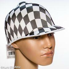 Jockey Helmet Black & White Diamond Pattern Kentucky Derby Costume Hat OS