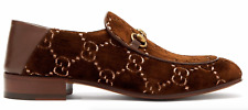 Gucci Mister Velvet Brown Logo Leather Gold Horsebit Oxford Loafer Flat 7.5 8.5