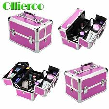Ollieroo Purple Aluminum Makeup Train Case Jewelry Box Cosmetic Bag Organizer