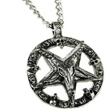"Baphomet Chain Inverted Pentagram Goat Devil Star Satanic Pendant 28"" Necklace"