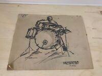 """Art Sketch   """"DRUMMER""""   Graphite on Paper   Signed Artist: Van Krugel (Greg??)"""