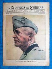 La Domenica del Corriere 1 agosto 1943 WW2 Badoglio - Pio XII- Vittorio Emanuele