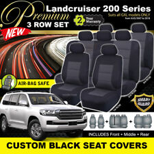 Premium Black Seat Covers to suit Toyota Landcruiser 200 Series 2007-18 GXL 3Row