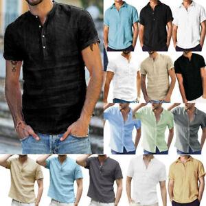 Men Summer Henley Short Sleeve Tops Shirts Casual Beach Loose Fit Blouse T-Shirt