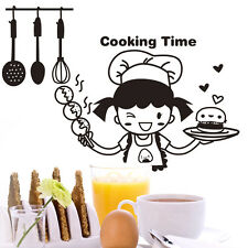 Happy Chef in Cooking Time Wall Sticker for Kitchen Decoration Cute Vinyl Decal