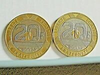 2 x 20 francs Mont Saint-Michel 1992 + 1993 Pessac