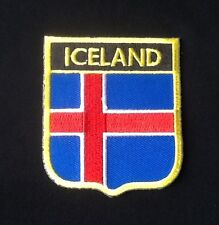 ICELAND ICELANDIC CROSS NATIONAL COUNTRY FLAG BADGE IRON SEW ON PATCH EUROPE 1