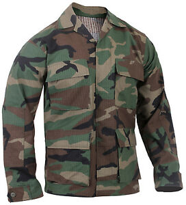 BDU Shirt Woodland Camo Cotton Rip Stop Four Pockets Military Style Rothco 5944