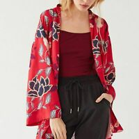 Urban Outfitters Red Floral Soho Chef Kimono S