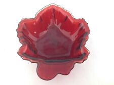 Anchor Hocking Glass Royal Red Colored Maple Leaf Bowl Candy Dish
