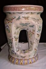 Chinese Garden Decor Stool Seat Hand Painted Butterflies Ceramic Signed 03106
