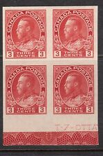 Canada #138 XF/NH Block With Part Plate Inscription