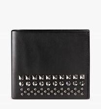 New Gucci Men's Black Leather Bifold Wallet w/Silver Studs and Logo 387455 1000