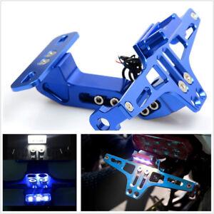 Blue Aluminium Alloy Motorbike Multiangle Adjustable License Number Plate Holder