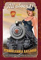 Pennsylvania Railroad Pin Up Girl Segno Metallo Insegna ad Arco Targa 20 x 30 CM