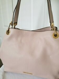 Michael Kors Raven Pebble Soft Pink/Gold Leather Large Shoulder Tote