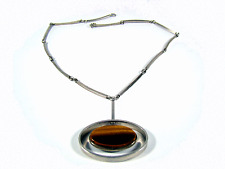 Sterling Argent Collier Nils Erik from Danish Vintage Tiger eye silver necklace