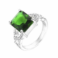 HOT Fashion Jewelry Men/Women 925 Sterling Silver Plated Green CZ Size 8 Ring CW
