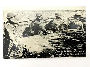Antique WW1 Rare Postcard - Yanks in Front Line France - Historical Artifact