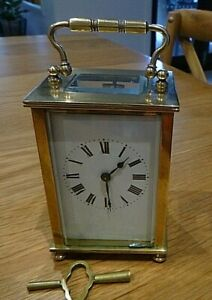 VINTAGE FRENCH 8 DAY CARRIAGE CLOCK WITH KEY